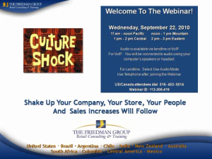 CULTURE SHOCK: Shake Up Your Company, Your Store, Your People And Sales Increases Will Follow
